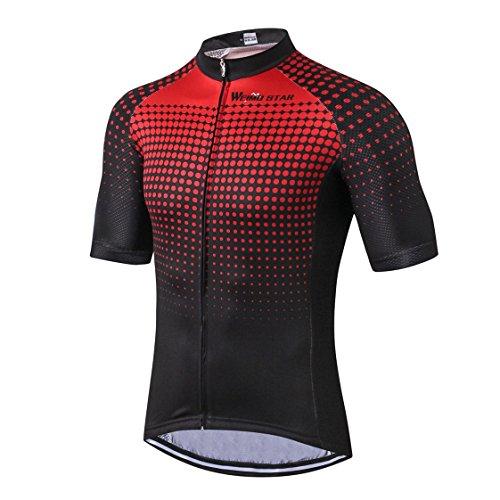 Radfahren Jersey Männer Bike Clothes Road Cycle Sommer Berg MTB Fahrrad Kleidung Kurzarm T-Shirts Outdoor Sports Top atmungsaktiv Rot schwarzGröße L (Für Männer Sommer-kleidung)