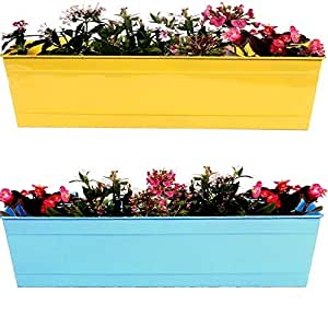 TrustBasket Rectangular Railing Planter Yellow and Teal (23 Inch)- Set of 2