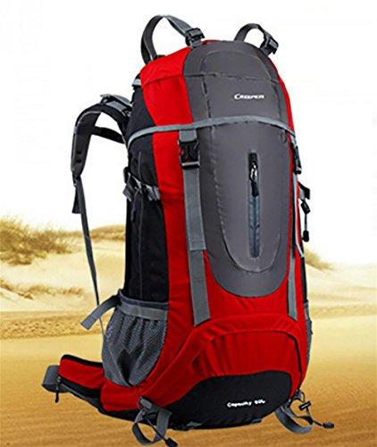 ROBAG Reise-Outdoor-Rucksack wandern Tasche Schulter multifunktionale wasserdicht 65L Männer und Frauen geschickt Regenschutz red 65 litres