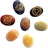 Divine Magic Healing Crystals With Engraved 7 Chakra Symbols - For GOOD LUCK, HEALTH, WEALTH, PROSPERITY And SPIRITUAL BLISS (Set Of 7 Stones)