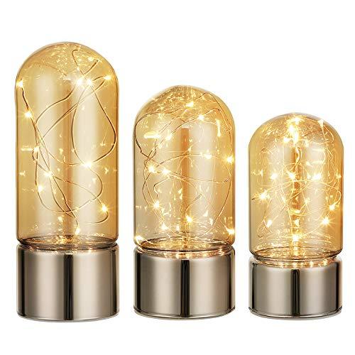 SONGMICS Nachtlicht mit Glaskuppel, 3er Set Stimmungslicht, Schlummerleuchte, innen mit dekorativer Lichterkette, für Schlafzimmer, Wohnzimmer, Fest, champagnerfarben, FSL40GD