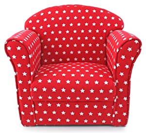 Kids childrens red with white stars fabric tub chair for Children s furnishing fabrics