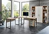 Büro Möbel komplett Set Arbeitszimmer OFFICE EDITION (Set 3) in Eiche Sonoma / Weiß - Made in Germany - abschießbar und Metallgriffe