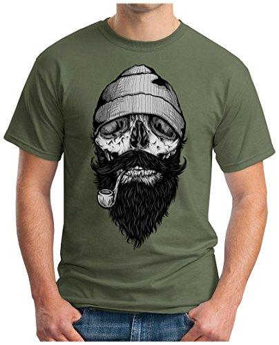 OM3 - FISHERMAN-SKULL - T-Shirt BONES HIPSTER FACE SAILOR ANCHOR ANKER SHIP DOPE GEEK Oliv