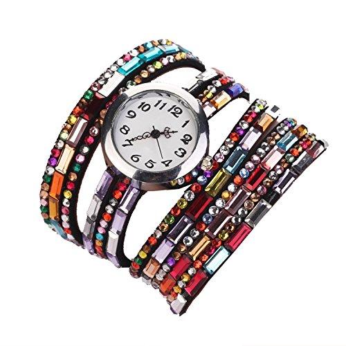 Minetom Damen Fashion Retro Quarzuhr Armreif Leder Armbanduhr Damenuhr Uhr ( Schwarz )