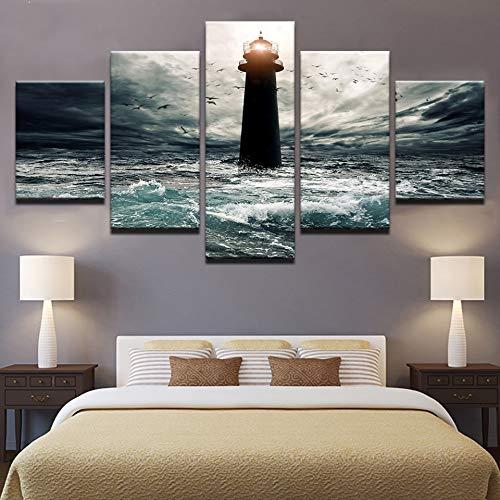 mmwin Gedruckt Modulare Bild Leinwand 5 Panel Leuchtturm Seaview Malerei Für Schlafzimmer Wohnzimmer Home Wall Art Decor -