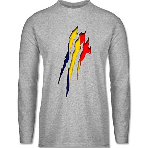 EM 2016 - Frankreich - Rumänien Krallenspuren - Longsleeve / langärmeliges T-Shirt für Herren Grau Meliert