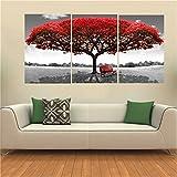 KING DO WAY 3 Teilig kombination leinwand rahmenlose Bilder drucken bild roter baum auf leinwand gedruckt zu hause wand dekor 50x70cm