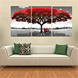 KING DO WAY Set 3 Teile Großer Baum rot Impressions auf Leinwand Wand Bild TABELLE Malerei Décor Haus Büro Canvas Print Painting, Grand Arbre Rouge, Un Set (70cmX50cm)