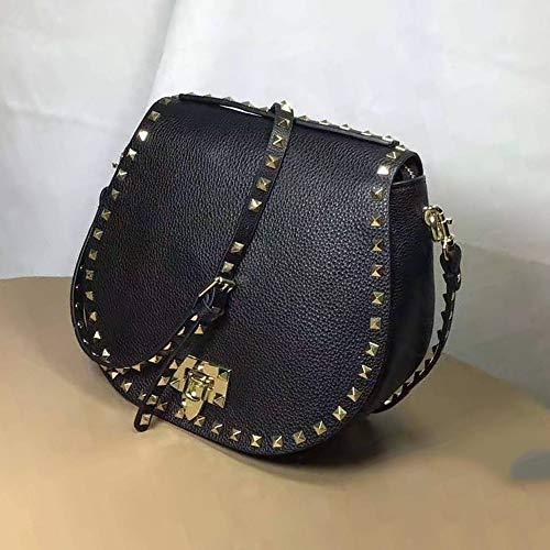 ETH Frau Leder Schultertasche Personality Niethandtasche/Retro Mode Satteltasche dauerhaft (Farbe : Black) -