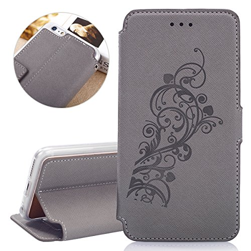 Custodia per Apple iPhone 6 Plus, ISAKEN iPhone 6S Plus Flip Cover, 5.5 inch Custodia con Strap, Elegante Sbalzato Embossed Design in Pelle Sintetica Ecopelle PU Case Cover Protettiva Flip Portafoglio Vine: grigio