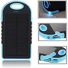Gearmax® Panel Solar 5000mAh impermeable a prueba de choques Batería Externa Portátil / Cargador portatil con dual USB(Azul)