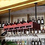 Ibuprofen Bois Massif de Suspension Gobelets Casier à Vin Casier à Vin Étagère à Vin Porte-Gobelets Porte-Verres à Pied Maison Salon Casier à Vin, 80 * 30cm, Couleur châtaigne