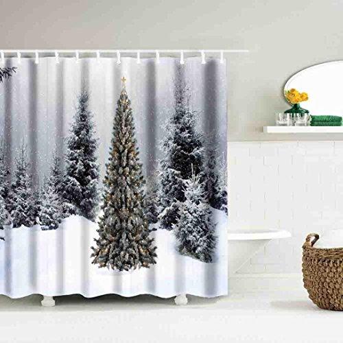 LCLrute 1er Weihnachtsvorhang wasserdicht Polyester Badezimmer Duschvorhang Dekor mit Haken 59x71inch (D) (Gardinenstange 28x48)
