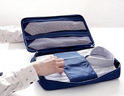 Extsud Organizer da Viaggio per Camicie e Cravatte, Borsa Impermeabile con Maniglia, Custodia da Viaggio Portatile Portacravatte Portacamicie, 36*26*2cm (Blu Scuro)