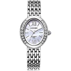 LONGBO Womens Fashion Roman Numral Crystal Rhinestone Accented Ellipse Case Lady Dress Watch Silver Bracelet Wrist Watches Girl Analog Quartz Full Stainless Steel Bangle Watches