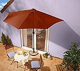 IMC Sonnenschirm terrakotta mit Kurbel - halbrund