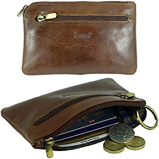 Ladies Mens Quality Leather Credit Card Holder & Coin Zip Purse (Dark Brown)