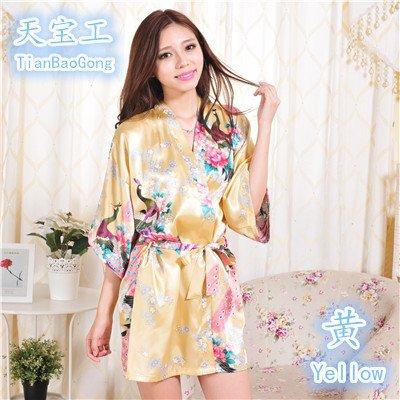 Wanglele Frühling Und Sommer Kimono Bademäntel Aus Seide Kimono Einteiliges Kleid Kleid Bademantel Lose Strickjacke Peacock Blume, Gelb, L