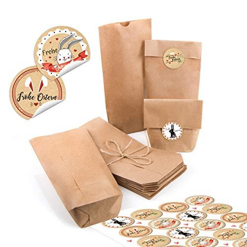 Logbuch-Verlag Petits sachets de Pâques Marron 10,7 x 22 x 4,2 cm + Lapin de Pâques Ronds Autocollants pour Pâques Cadeau de Pâques Beige/Rouge/Blanc, Papier, Lot de 48