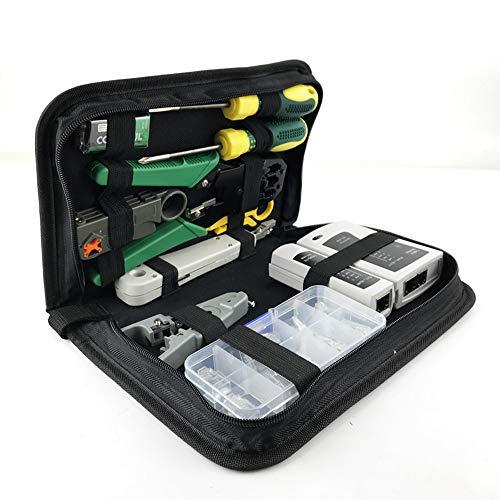 Network Repair Tool Kit, Computer Repair LAN Cable Tester 11-in-1 Tool Kit, RJ45 RJ11 CAT5E CAT6 Crimp Tool Set