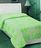 Elegance Green Floral Cotton Single Bed ...