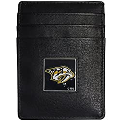 NHL Nashville Predators Leather Money Clip/Cardholder Packaged in Gift Box, Black