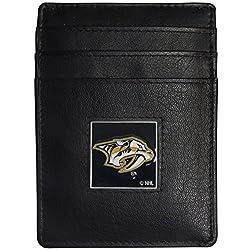 NHL Nashville Predators Leather Money Clip/Cardholder Packaged in Gift Box, Black