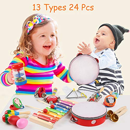 Toddler Musical Instruments, LEADSTAR 24 Pcs Wooden Percussion Instrument Toys Rhythm Band Set Including Xylophone, Drum - Musical Toys Set for Toddler Preschool Children Kids with Storage Bag