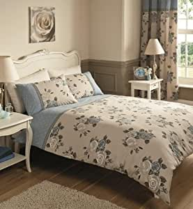 Shabby Chic Vintage Rose Duvet Set With Curtains ,Blue King From Deluxe Home