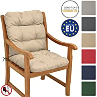 Beautissu Flair NL Cojín de asiento exterior con respaldo bajo 100x50x8 cm - Relleno de copos de gomaespuma - Natural