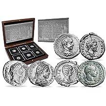 IMPACTO COLECCIONABLES Monedas Antiguas - 6 Denarios de Plata del Imperio Romano - 6 Emperadores