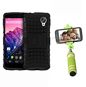 Aart Hard Dual Tough Military Grade Defender Series Bumper back case with Flip Kick Stand for LG Nexus5 + Aux Wired Mini Pocket Selfie Stick by Aart store.