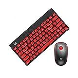 2.4G Wireless Tastatur und Maus Set, Hi-azul Kompakt Ultra dünn Kabellose Tastatur Multimedia Tastatur und Ergonomie Stille Optische Maus (Rot-Schwarz)