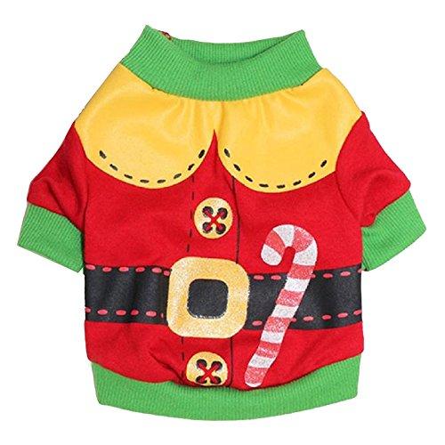 Animali domestici T-shirt - SODIAL(R)bordo verde Cane Gatto vestiti di inverno Maglione Caldo Maglieria per Cani Natale Puppy Coat Apparel (Rosso,L)