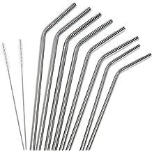 PIXNOR Conjunto de 8 acero inoxidable doblado beber paja + sistema de cepillo de limpieza 2 Set (plata)