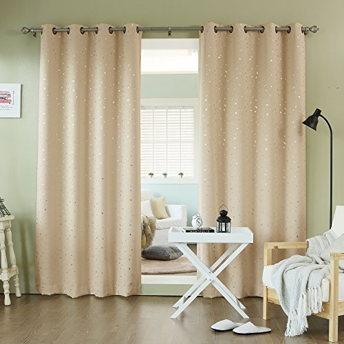 Best Home Fashion Gold Star Print Thermal Insulated Blackout Curtains - Grommet Top - Beige - 52W x 84L - (Set of 2 Panels) by Best Home Fashion