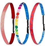 Ivybands® Kids | 3-er Pack | Rot Weiss Bunt Gestreift Gepunktet Punkte | Anti-Rutsch Haarband für Kinder | Kinderhaarband IKID007 IKID019 IKID020