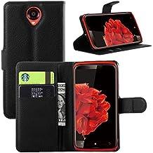 Lenovo S820 Funda, Dokpav® Ultra Slim Delgado Flip PU Cuero Cover Case para Lenovo S820 con Interiores Slip Compartimentos para Tarjetas - Negro