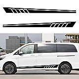 Autocollant de Décalque de Vinyle Bande Latérale de Corps de Voiture pour Benz C Class Vito Viano Voiture Bande Longue Sticker Noir 2 Pièces