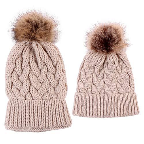 XXYsm Mutter und Baby Mütze Beanie Winter Strickmütze Stricken Halten Warme Gestrickte Hut Khaki - Hut Stricken Jordan