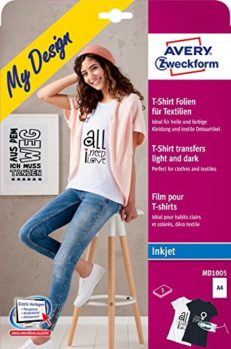 AVERY Zweckform MD1005 Textilfolien für farbige und helle Textilien (210x297 mm auf DIN A4, bedruckbare T-Shirt Folie zum Aufbügeln, Inkjet-/Tintenstrahldrucker) 5 Transferfolien weiß
