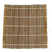 Esterilla de rollo de sushi - SODIAL(R)Esterilla de bambu laminado Bento hecho de mano de rollo de sushi caqui