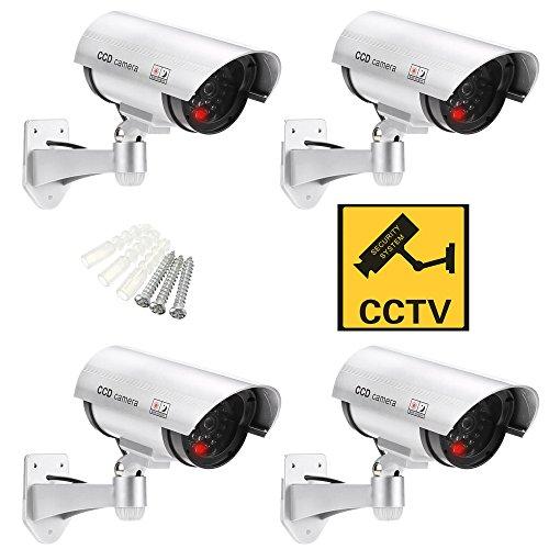 LetiStore • 4 Stück Dummy Kamera Für Außen Und Innen • Die Fake Kamera Attrappe Ist Wasserdicht Und 360° Schwenkbar • Das Günstige Outdoor Überwachungssystem In Silber