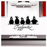 Grandora Wandtattoo Topfgucker 5 Vögel I schwarz 70 x 33 cm I Küche Spruch Zitat Aufkleber selbstklebend Wandaufkleber Wandsticker W862