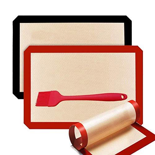 Mitening 3 Piezas Tapete de Silicona para Hornear, Tapete de Cocción Lámina de Horno de Silicona Antiadherente...
