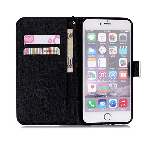 iPhone 6/6S Hülle, Slim Retro PU Leder Bookstyle Hülle Tasche Flip Wallet Case mit Strap Portable Handytasche Anti-Scratch Shell Cash Pouch ID Card Slot Magnetverschluss Etui Soft Silikon für Apple iP Hand