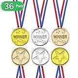 EXTSUD Medaglie per Bambini Winners Set 36 Pezzi Medaglie Vincitori in Plastica Giocattolo Premio Festa Partita Sport Concorrenza Party Ricompensa Bambini Giochi Medaglia Oro Argento Bronzo