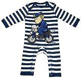 HARIZ Baby Strampler Streifen Polizist Lustig Motorrad Polizei Witizg Plus Geschenkkarten Navy Blau/Washed Weiß 6-12 Monate