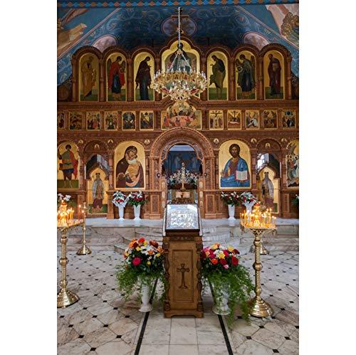 Cassisy 2x3m Vinyl Ostern Foto Hintergrund Kirche Altar Basilika Heiliges Herz Jesus Zagreb Kroatien Fotografie Hintergrund für Photo Booth Party Fotostudio Requisiten